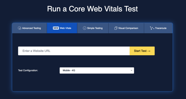 A screenshot showing the simplified form for running a core web vitals test, with only a URL and device form factor required.