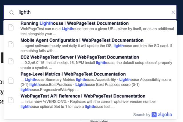"""A screenshot of the new search on docs, with the query """"lighth"""" entered and a number of options, including a """"Running Lighthouse"""" result, displayed"""