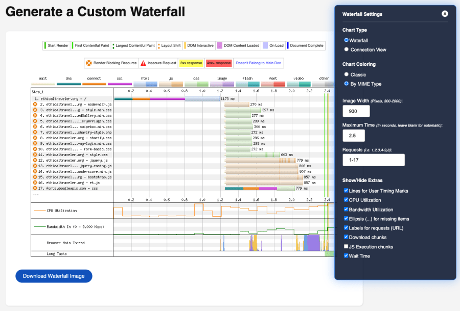 A screenshot of the Custom Waterfall page, showing a blue dialog box to the right of the screen where you can change the display of the performance waterfall, displayed to the left.