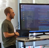 Andrew presenting during a codeshare