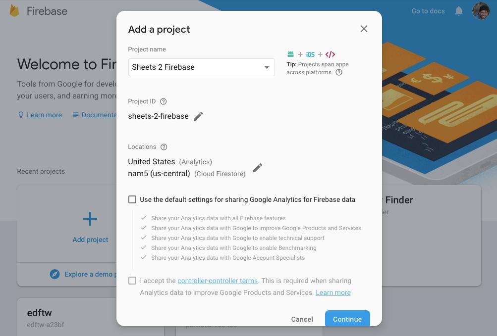 Firebase home screen