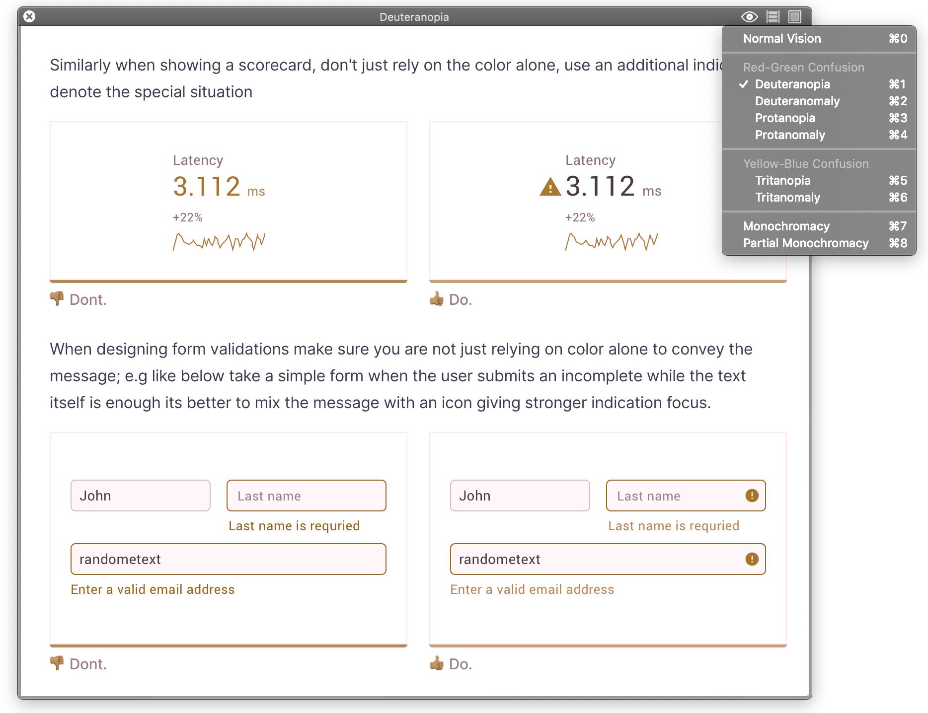 Screenshot of Sim Daltonism software