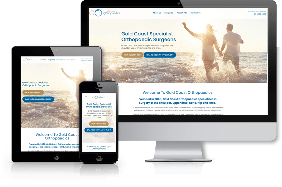 Gold Coast Orthopaedics webiste screenshot