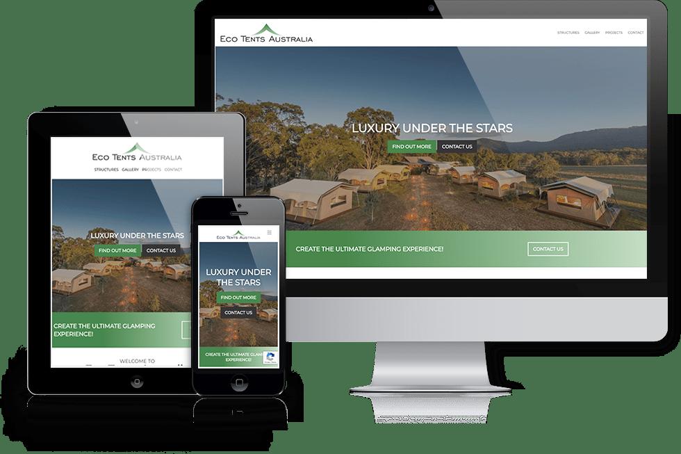 Eco Tents Australia webiste screenshot