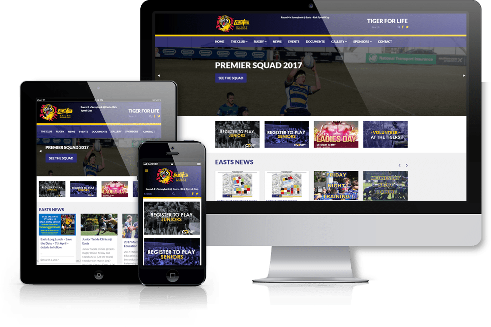 Easts Rugby Union Club webiste screenshot