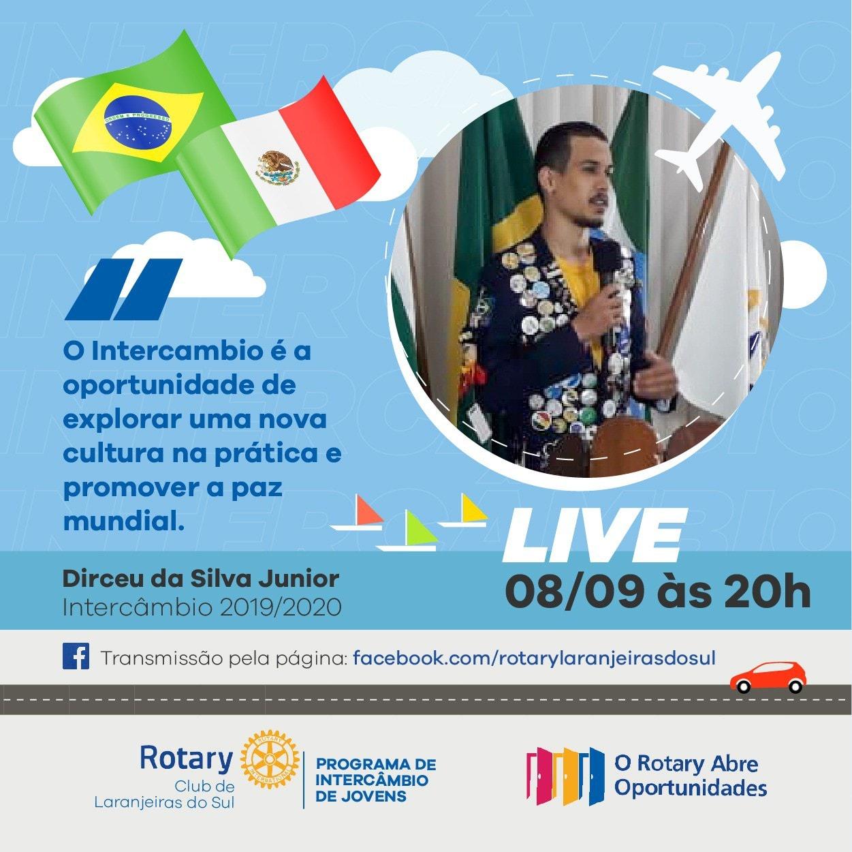 Intercambista do Rotary Clube compartilha sua experiência de no México, em live nesta terça-feira (08)