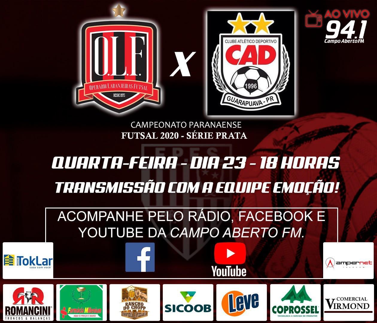 Partida entre Operário x CAD pelo Paranaense de Futsal Chave Prata é transferida.