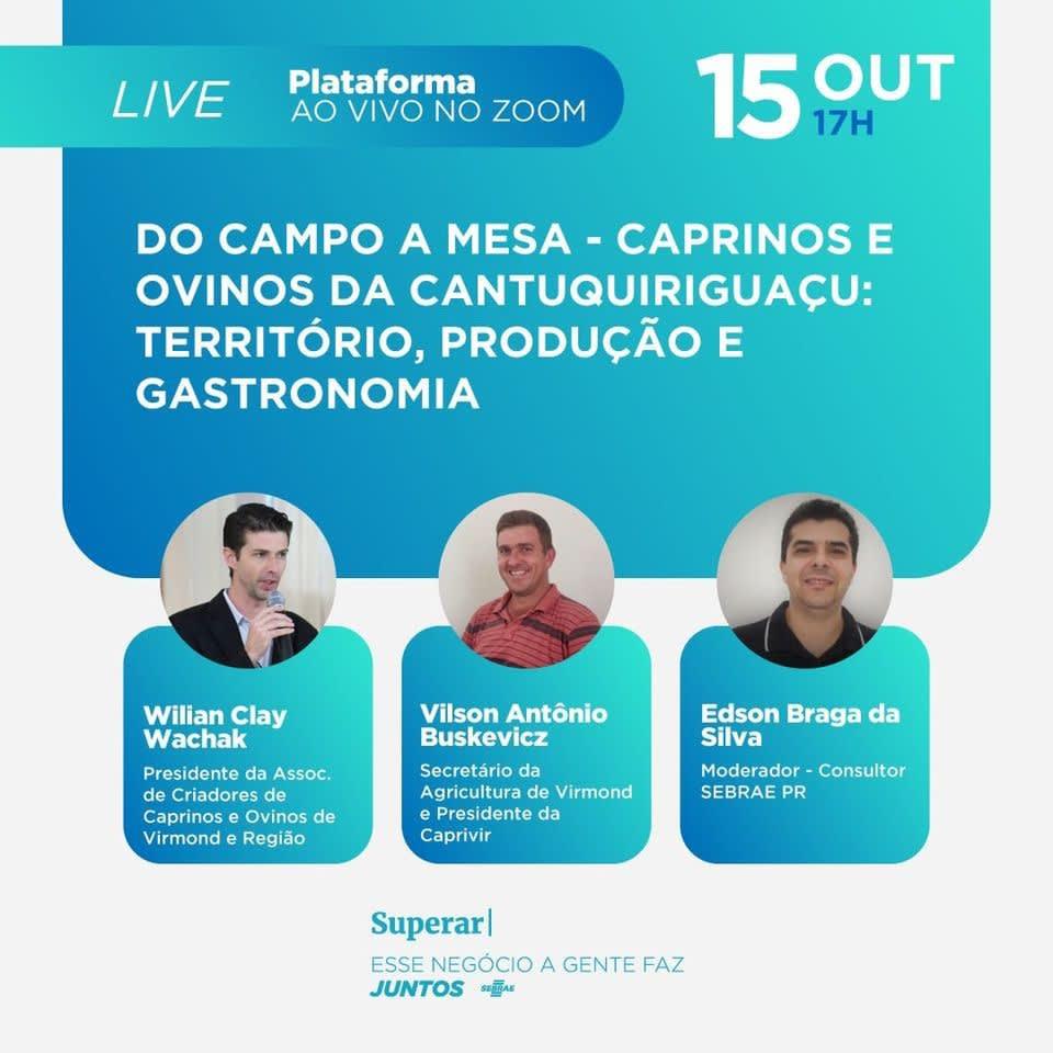 Live  vai debater sobre caprinos e ovinos da Cantuquiriguaçu: Território , produção e gastronomia