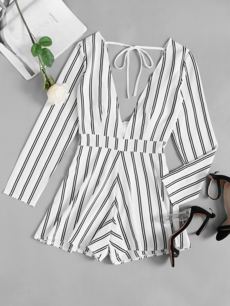 Playsuit - white stripes - ENKEL ACTIE
