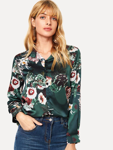 Blouse - Green flowers