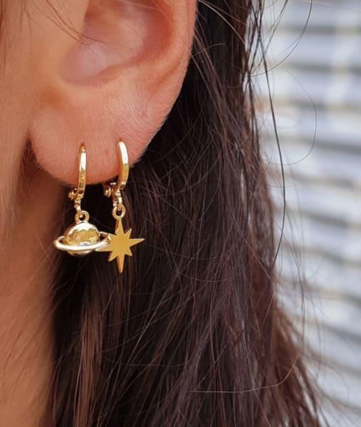 Earrings - Star Galaxy - Silver/gold