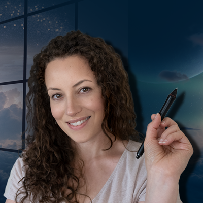 svenja holding a wacom pen and smiling