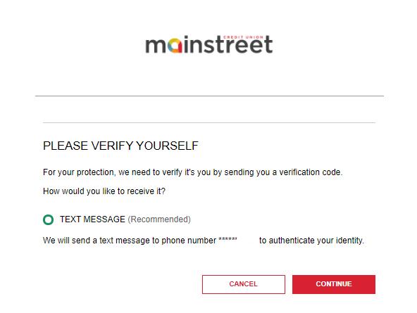 screenshot of Mainstreet banking login portal 2-step verification