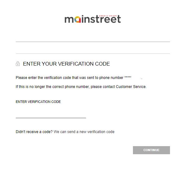 screenshot of Mainstreet banking login portal entering your verification code