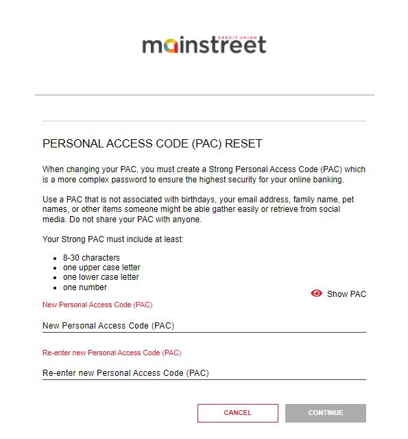 screenshot of Mainstreet banking login portal Personal Access Code reset success