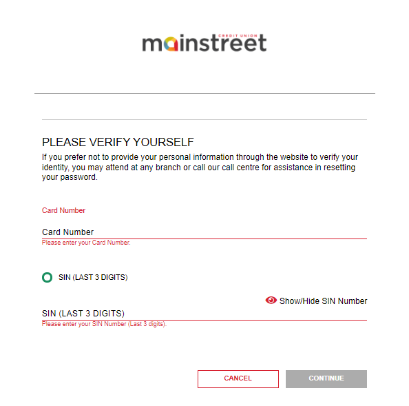 screenshot of Mainstreet banking login portal verification screen with Card Number and SIN
