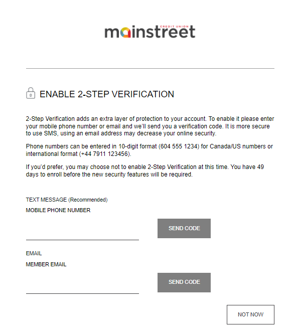 screenshot from Mainstreet to enable 2-step verification