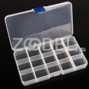 Adjustable 15 Grids Plastic Storage Box Jewelry Earring Stuff Container Case