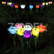 Beautiful Solar Powered LED Tulip Landscape Flower Lamp Bulb For Lawn Garden