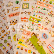 Cute 6 Sheet Cat Kitty Paper Stickers for Scrapbook Calendar Decor Skin
