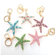 Charm Cute Crystal Rhinestone Starfish Car Keyring Key Chain Purse Bag Pendent