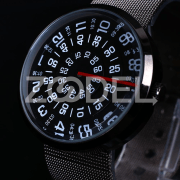 Charming Transfer Men Women Stainless Steel Alloy Sports Wrist Watch Black