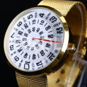 Charming Transfer Men Women Stainless Steel Alloy Sports Wrist Watch Gift Gold