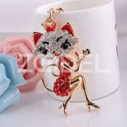Cute Little Fox Rhinestone Keychain Gifts For Kids Friends Families Red