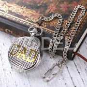 Retro White Dial Round Pendant Mens Quartz Pocket Watch Chain Father DAD Gift