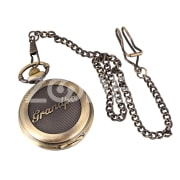 Retro White Dial Round Pendant Mens Quartz Pocket Watch Chain Grandpa DAD Gift