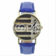 Vintage Analog Piano Musical Note Pattern Quartz Watch Wristwatch Strap Band