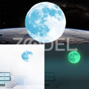 30cm Multicolor Large Moon Luminous Wall Sticker Home Decoration Decor