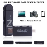 Card Reader TF Card Adapter Multifunctional Black 3 in 1 Outdoor Travel OTG Adapter Laptop Tablet