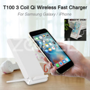 T100 Qi Wireless Charger Lightweight Three Coil Plastic Office Fast Charge Charging Stand Phone Mount Travel