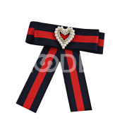 Pin Bow Collar  Brooch Fashion Heart-Shaped Ribbon Cravat Wedding Rhinestone Applique Tie Accessories Beauty
