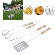 3pcs BBQ Tool Set Spatula Fork Tong with Long Handles Grip Grilling Tool