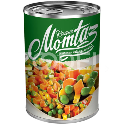 Canned Mixed Vegetables Easy Open Can 380 g Momtaz Razavi Company