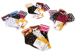 "Girls Socks - Short - With Sock Ring - Dotted - Hidden Elastic Band - Brand ""Sefid Barfi"" - Code 4223"