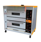 Gas oven with two decks