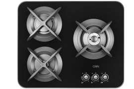 "Gas Cooker Hob - Built In Type, Glass Material, 3 Burner, With Thermocouple, Black Color - Model: G-303 - ""Can"" Brand"