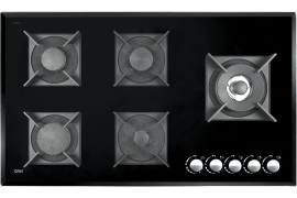 "Gas Cooker Hob - Built In Type, Glass Material, 5 Burner, With Thermocouple & Stainless Steel Cover, Black Color - Model: 526CG - ""Can"" Brand"