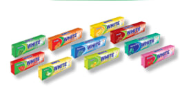 "Chewing Gum (Sugar Free) - Different Flavors - 12.5 Gr Pack - ""White"" Brand - Minoo Company"