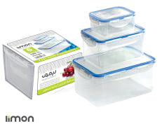 Freezer Container Set Of 6 Pcs - Plastic - Rectangular - Limon Brand