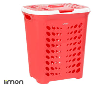 Laundry Basket With Lid - Plastic - Rectangular - Tall - Limon Brand - Model 036