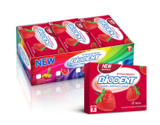 Chewing Gum - Sugar Free, Strawberry Flavor - 12 pcs - Mini Stick Series - Biodent Brand