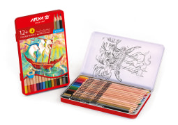 Colored Pencils - 12+3 Colors - Metal Box - Arya Company - 3021