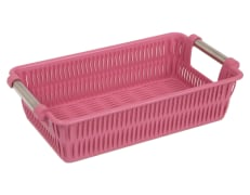 Plastic Basket For Kitchen - Rectangular - With Steel Handle - Limon Brand - Bamboo Design - Size 3