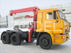 Tractor truck with telescopic rope crane boom KAMAZ 65115