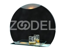 Bathroom Mirror - Round, With Lamp & Shelf, In Various Colors - 60*50 Cm - Model : Arash - Yaghut Jam Pars Company