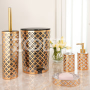 Bathroom Accessories Sets - Golden Printed Design - Limon Brand